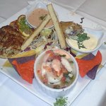 Appetizers: crab cake, ceviche and lump crab spring rolls