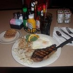 Steak and Eggs from the coffee shop. Very good every time.