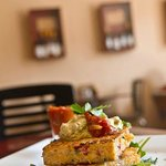 The corn fritter stack... one of the many gluten free options!