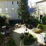 Inviting courtyard below
