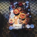 Breakfast spread. Love the tiles!