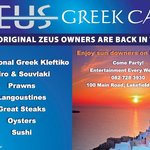 ZEUS GREEK CAFE CONTACT FOR ALL BOOKINGS