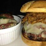 Triple Burger; Hamburger, Pastrami and BBQ Pulled Pork