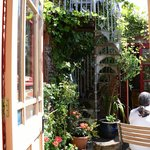 On bright, sunny days, there is a tiny courtyard to sit in.