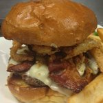 Bacon Swiss Burger with Onion Petals