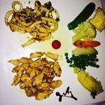 Beautiful chicken and calamari dinner