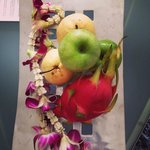 Welcome fruit platter and orchid garland