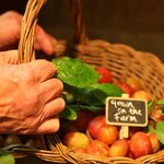 Fruits from the farm's orchards are available seasonally in the farm shop