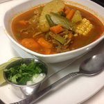 Caldo de Rez or Mexican beef stew... Full of veggies beef was so tender and it came with tortill