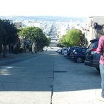 looking back down at the hotel from the top of Lombard street -a lot easier going back down !