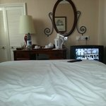 View of the ancient faulty tv from the bed