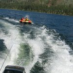 Tubing on lake