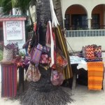 woven goods sold on the beach outside of the hotel