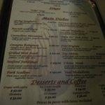 A la carte dinner menu