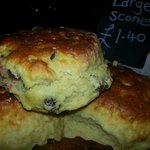 Large scones heated in the oven with lots of butter and strawberry jam.. oh yummie