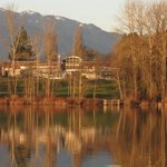 Shadbolt Centre across the lake in winter