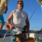 Captain Brad let my husband take the helm