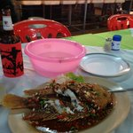 Three Pepper Whole Snapper and a large Singha $11.00