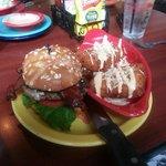 Blue Burger with Deep fried macaroni side