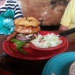 Blue Burger with coleslaw side