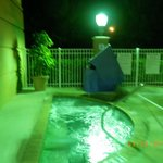 Poorly lit pool areas at night