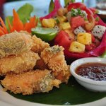 Battered Scallops served with sweet plum dipping sauce