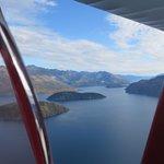 Flying over Lake Wanaka on a beautiful February morning