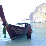 Chet and his boat at Maya Bay