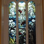 Lovely stained glass window behind the altar