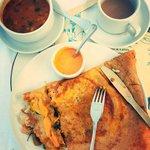 My favorite breakfast - stuffed masala dosa and the best masala tea