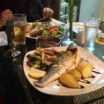 grilled seabass with salad anf new potatoes