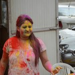 neighbours friendly enough to let us play Holi with them