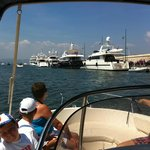 Enjoying our holiday activities: visiting St Tropez by motor boat