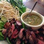 Steak tips with tuk prahok.