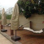 Pool side hanging swing