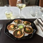 A starter of coquilles SaintJacques