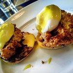 Fried Chicken Benedict. Bacon jam, poach egg, hollandaise.