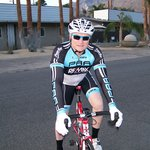My husband out in front of the hotel getting ready for the Tour de Palm Springs.