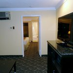 looking from livingroom suite into bedroom/bath
