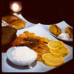 Delicious baked pirozhkis & a salmon plate. Sauna makes you hungry!
