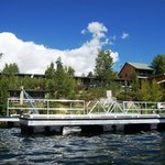 Small lower lakeside cabins & large upper lakeside cabins from water