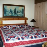 Bedroom in large lakeside cabins