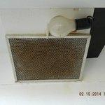 Oven vent fan & light in kitchen