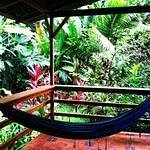 The hammock on the porch in our villa