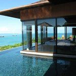Our villa infinity pool and bedroom