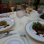 Appetizers: foie gras and scallops