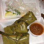 Homemade seafood tamales