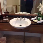 Basin with nice toiletries