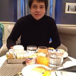 Happy daily breakfast before taking off