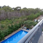 View from the balcony of the pool area and surrounds